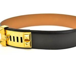 HERMES Collier de Chien Black/Gold Leather Belt tw